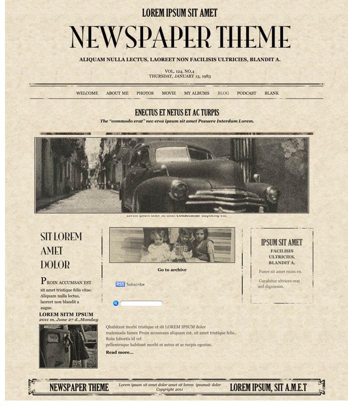 iweb newspaper theme in iweb business category
