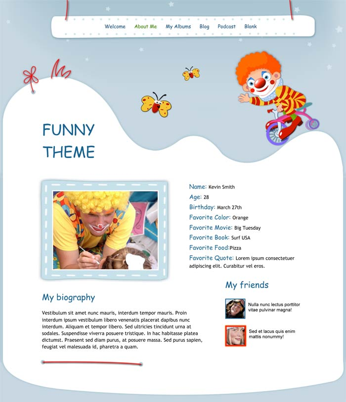iweb funny theme in iweb holiday occasions category